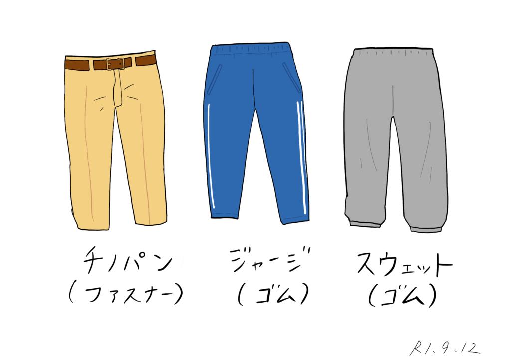 タイプ別ズボンのイラスト