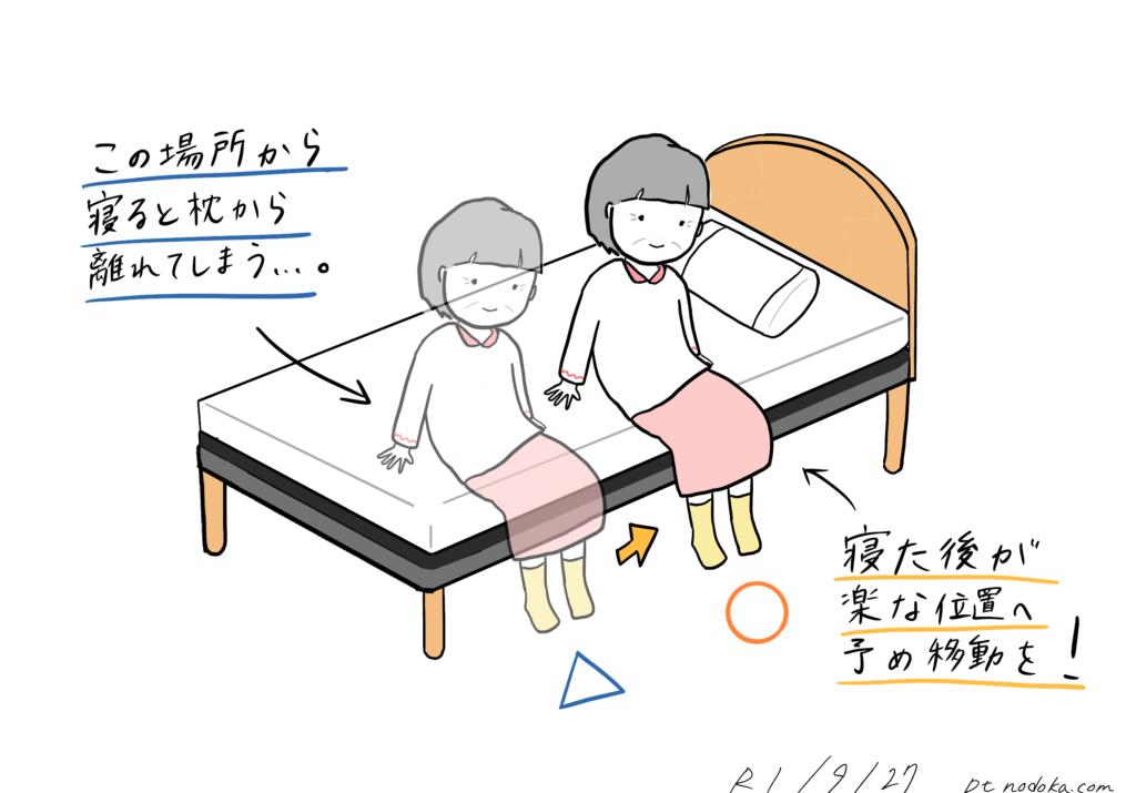 寝た後が楽な座り位置のイラスト