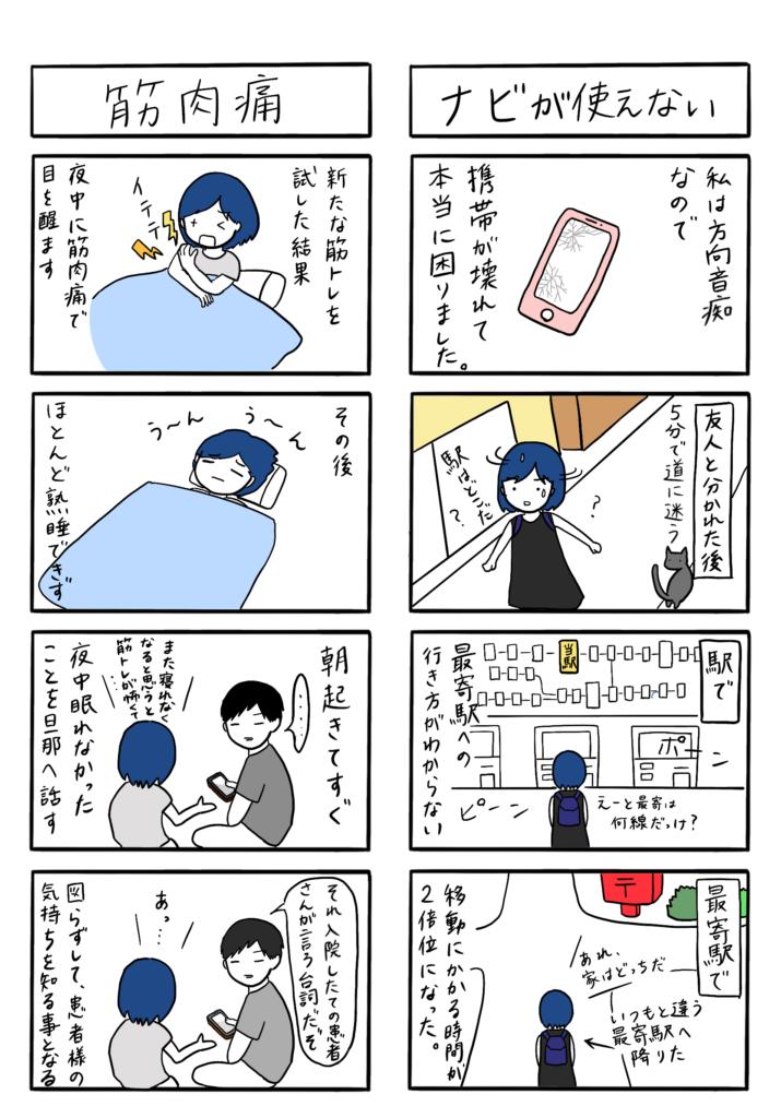 「ナビが使えない」「筋肉痛」の4コマ漫画