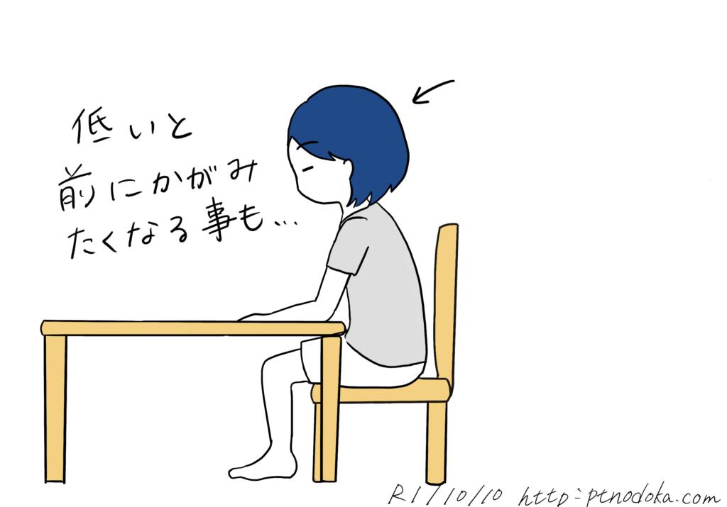 テーブルが低い時のイラスト