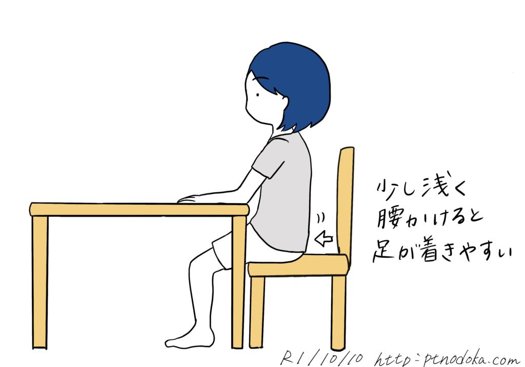 椅子に浅く腰掛けるイラスト