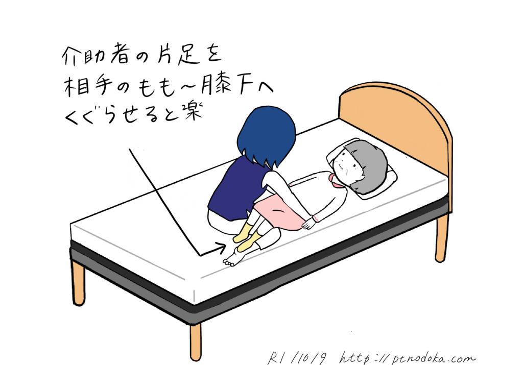 ベッド上で介助する時の開始姿勢のイラスト