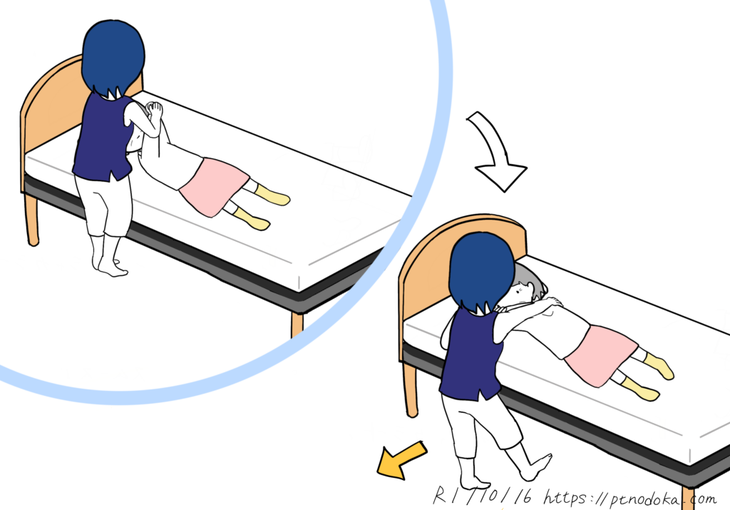 体が固い方のためのストレッチのイラスト(肩〜背中)