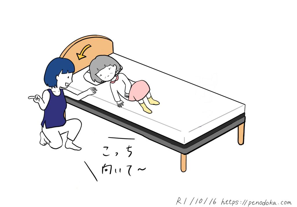 寝返り動作の介助方法のイラスト