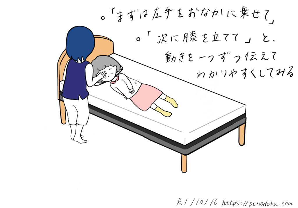 寝返りをわかりやすく伝える方法のイラスト