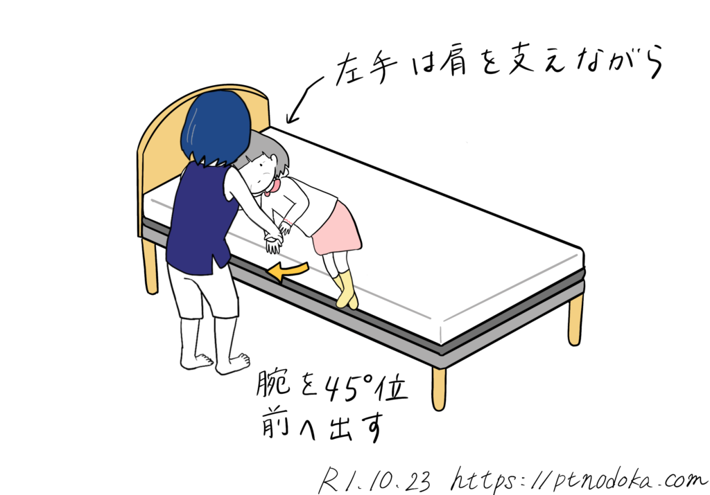 起き上がり介助する家族のイラスト