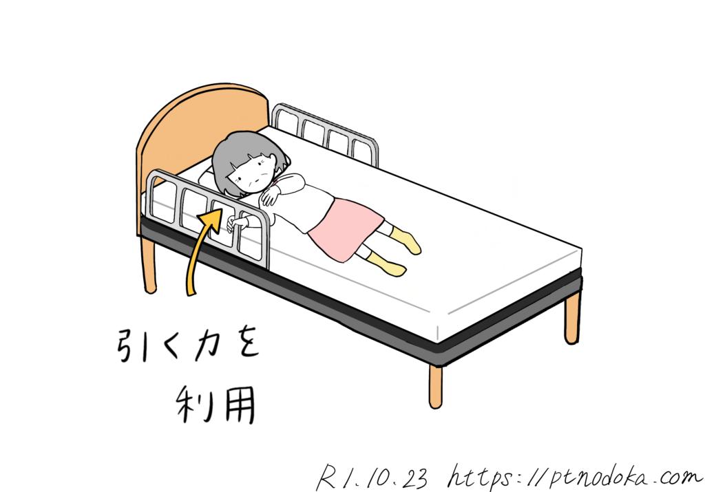 手すりを使って寝返っている高齢者のイラスト