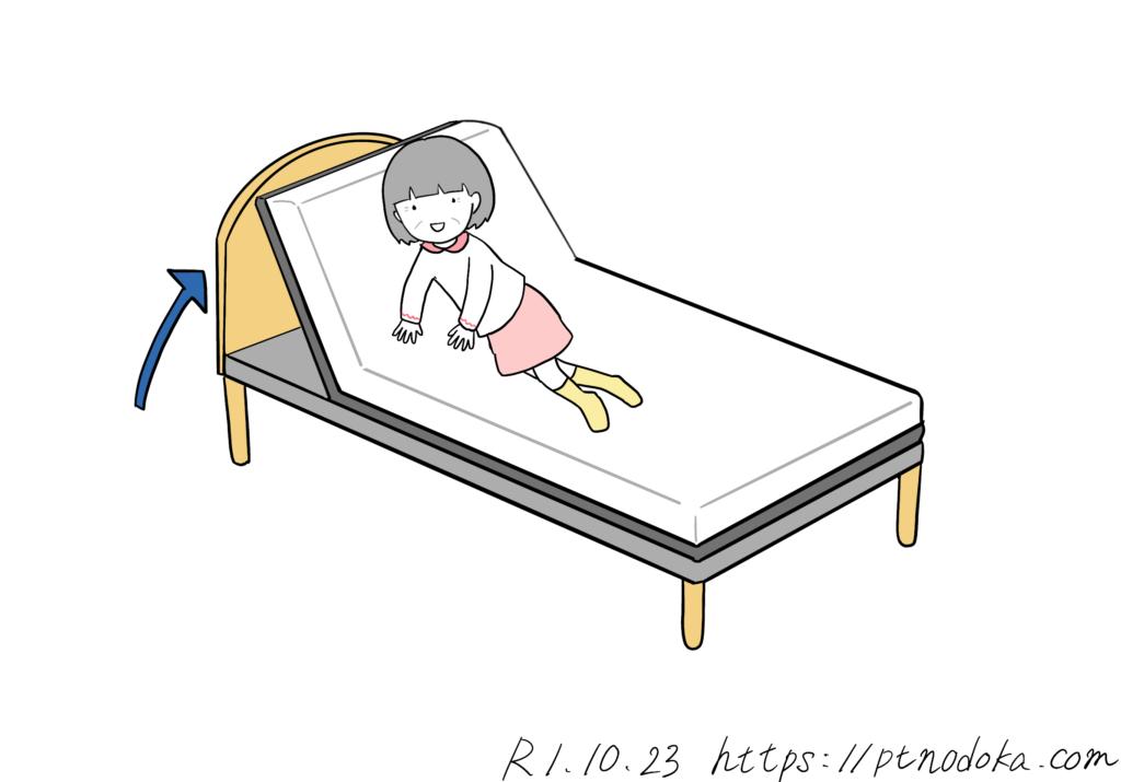 ベッドの頭上げ機能を使って起き上がるイラスト