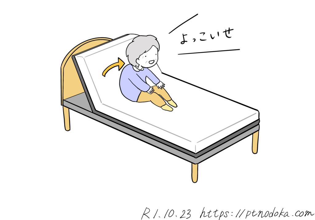 前から起き上がる高齢者のイラスト