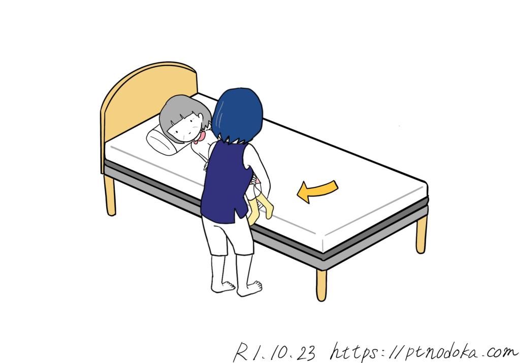 ベッドから足を出す介助をする家族のイラスト