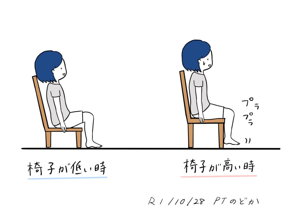 椅子の高さが合わない人のイラスト