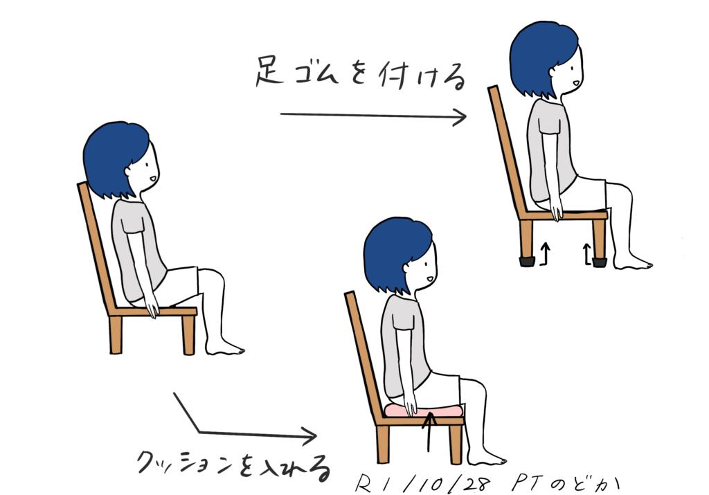椅子が低い時の対策のイラスト