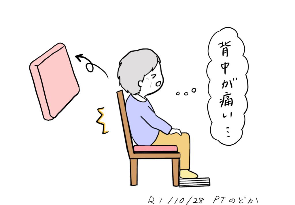 背もたれが固いと椅子は痛い時のイラスト
