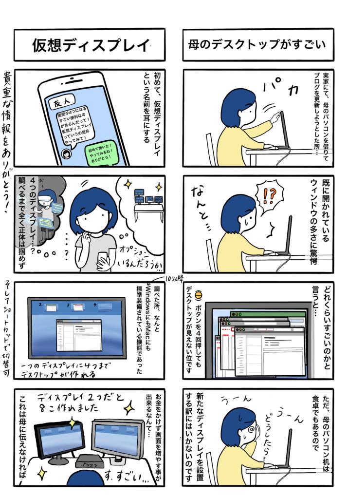 「母のデスクトップがすごい」「仮想ディスプレイ」の4コマ漫画