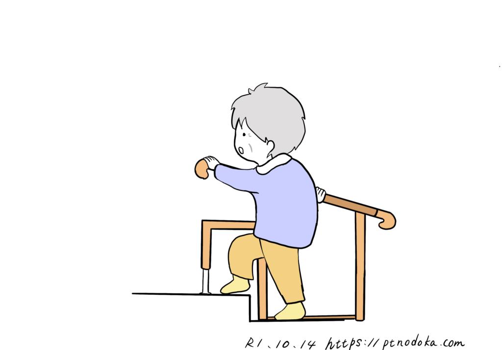 据置きタイプの玄関の上がり框用手すりを使う高齢者のイメージ