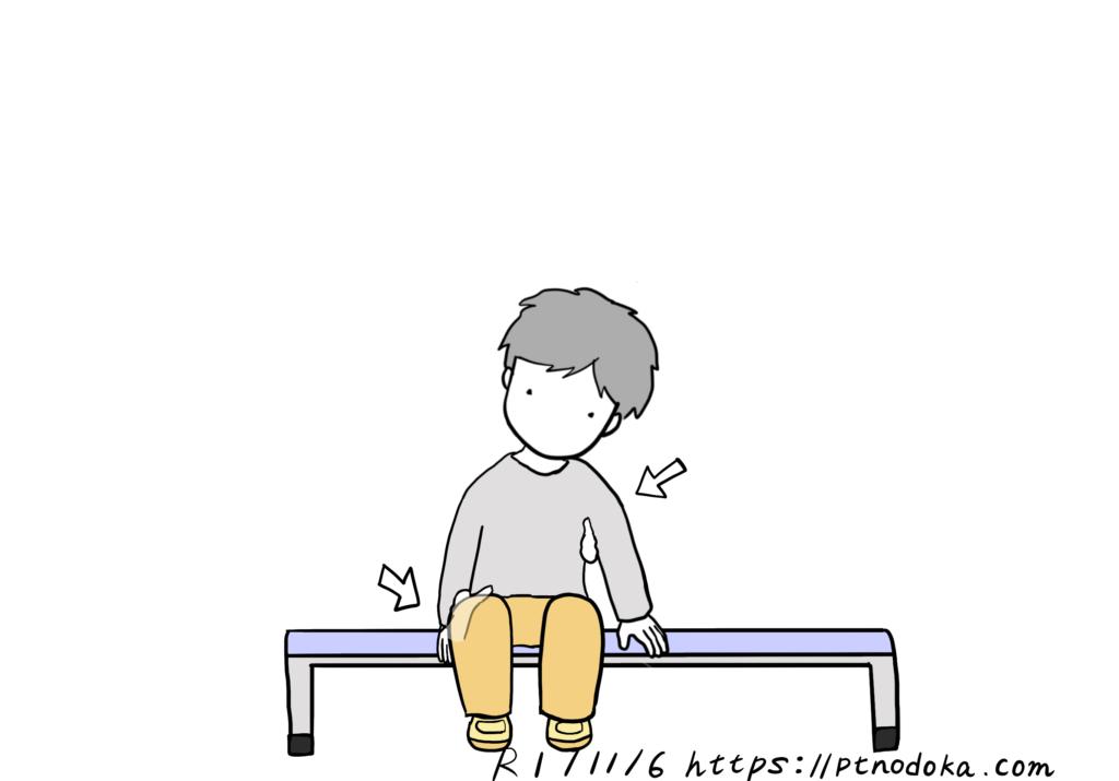 左へ傾く患者さんの立ち上がり時に介助する場所のイラスト