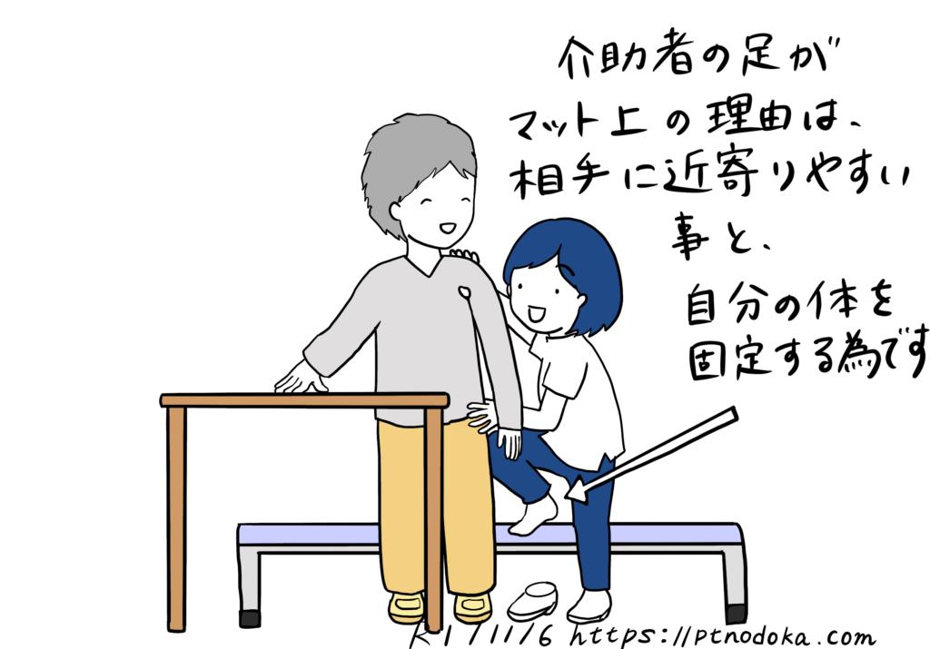 テーブルを使った立ち上がり介助のイラスト