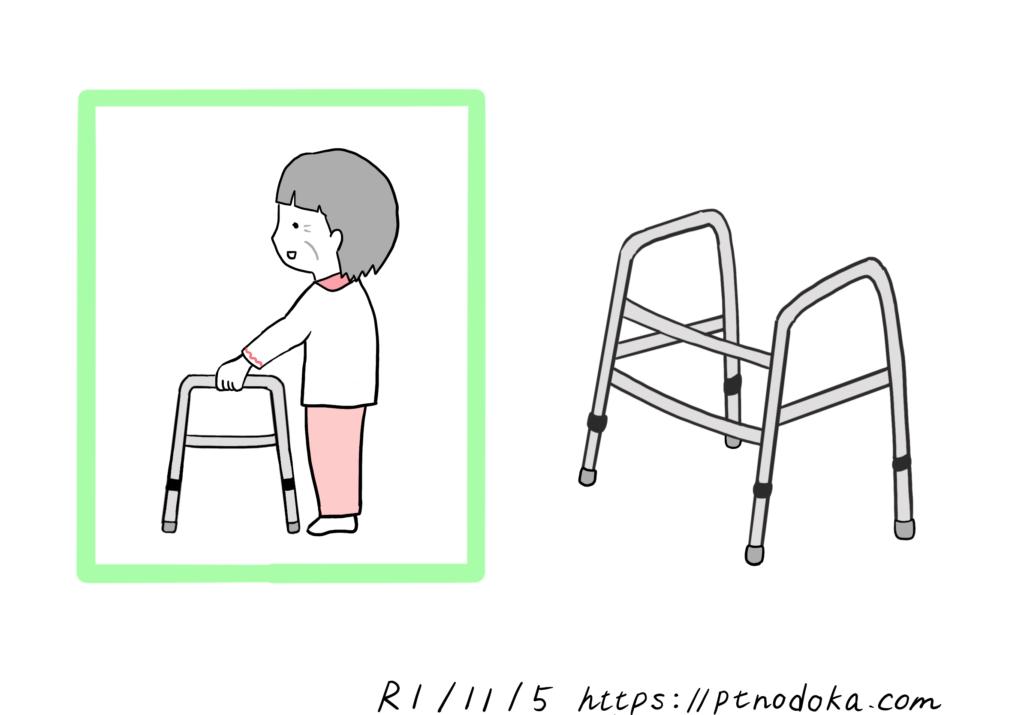 持ち上げ型歩行器(ピックアップウォーカー)のイラスト