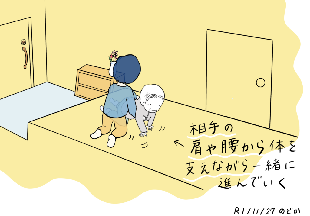 高低差(玄関など)を利用した床からの立ち上がりの介助方法イラスト