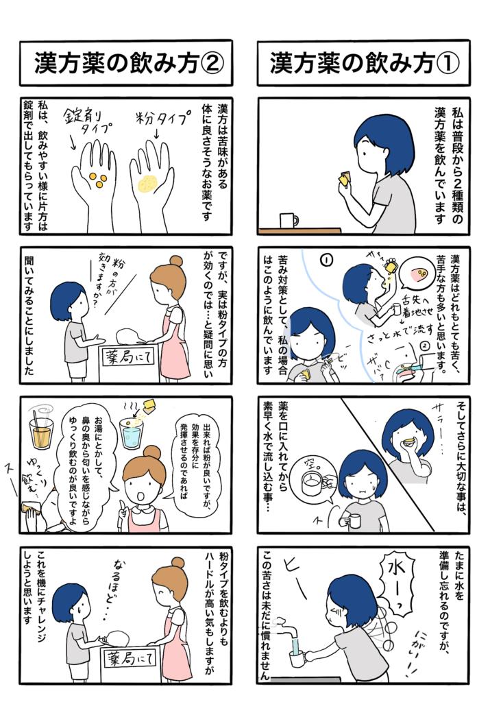 「漢方薬の飲み方1」「漢方薬の飲み方2」の4コマ漫画