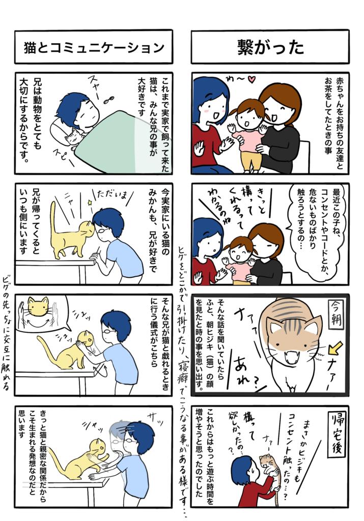 「繋がった」「猫とコミュニケーション」の4コマ漫画