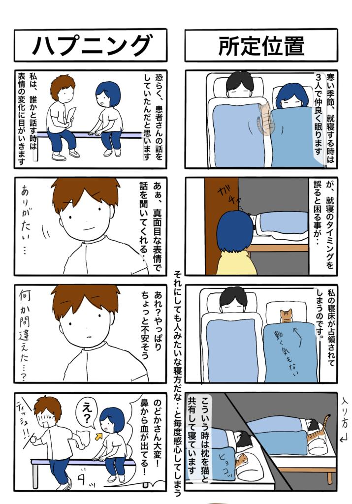 「所定位置」「ハプニング」の4コマ漫画