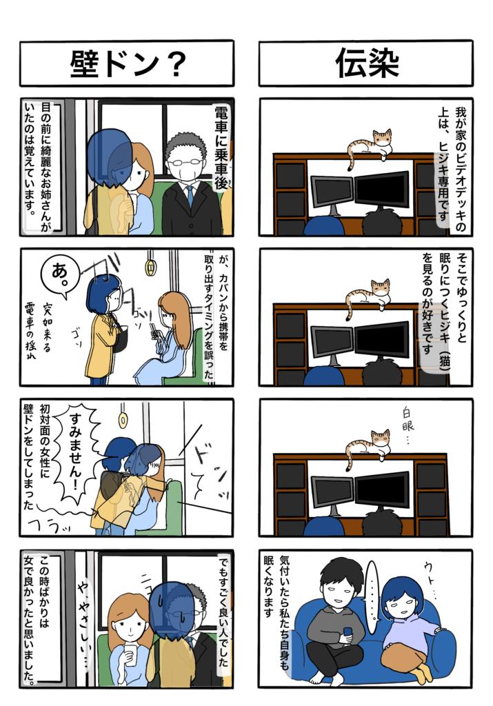 壁ドン、猫に伝染の四コマ漫画