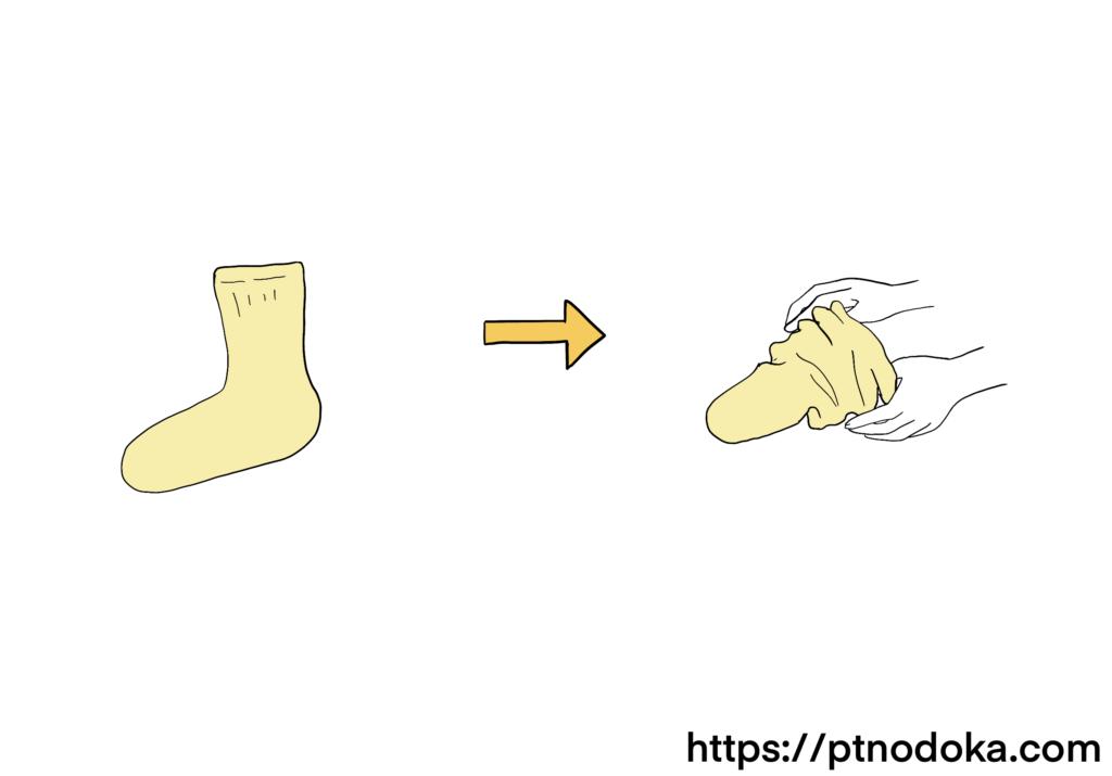 靴下をたぐるイラスト