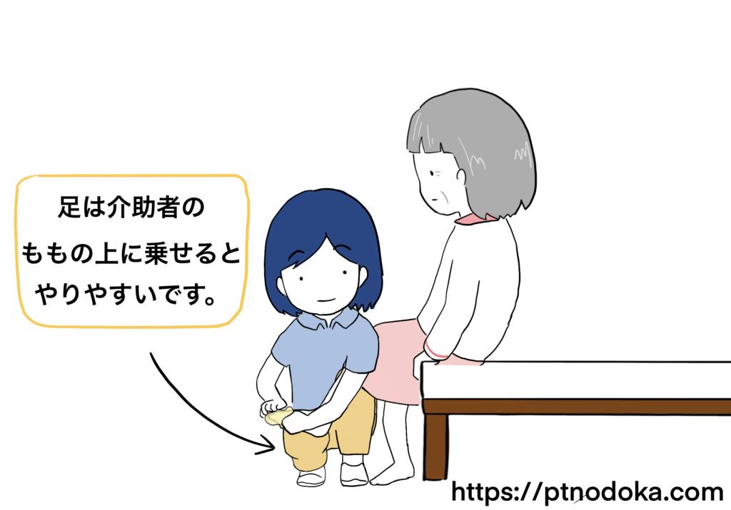 靴下を履かせる時の介助方法のイラスト