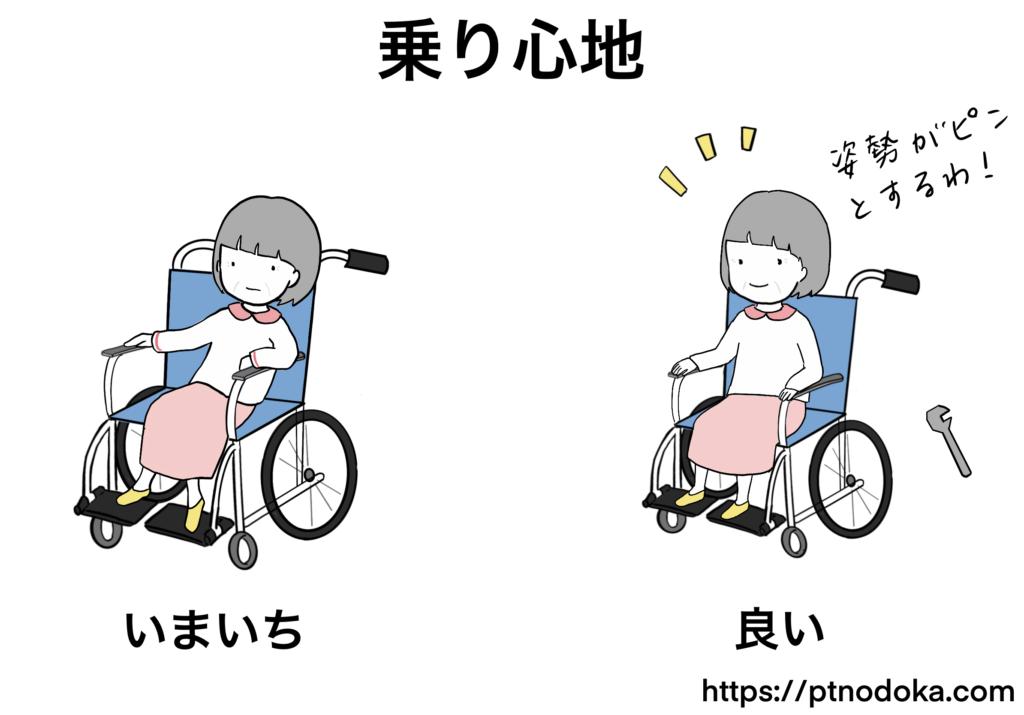 車椅子の乗り心地のイラスト