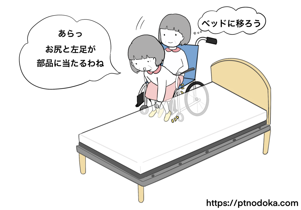 車椅子からベッドへ乗り移るイラスト