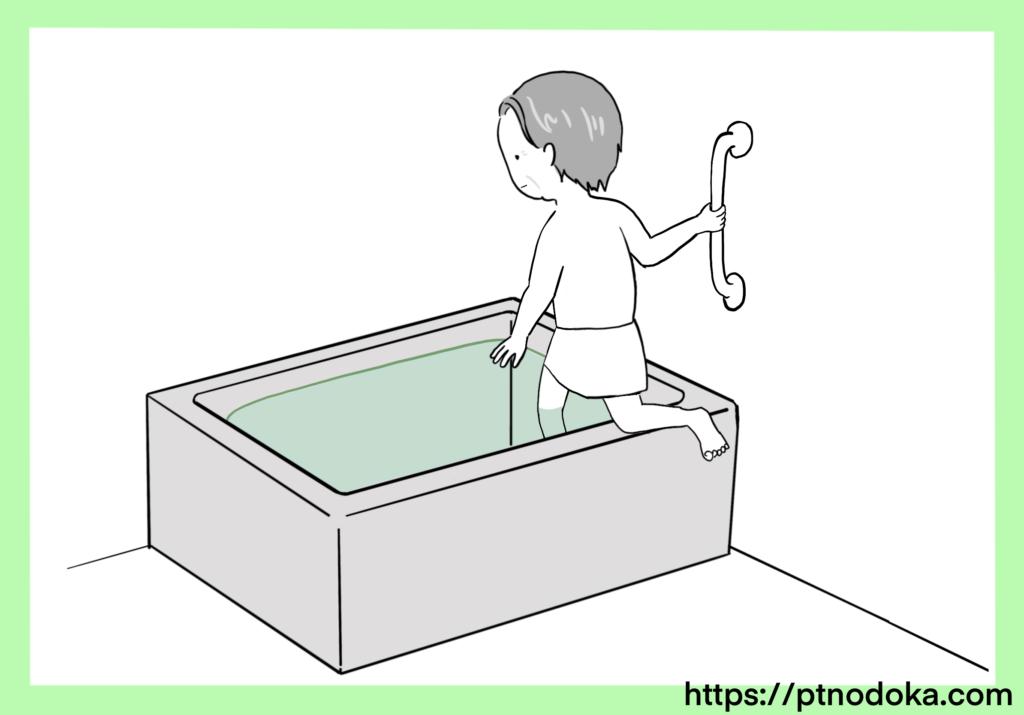 浴槽(お風呂)のまたぎ方のイラスト