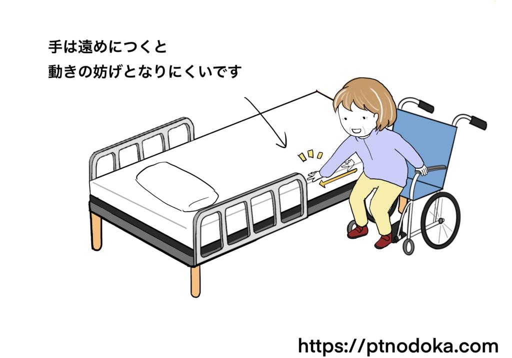 乗り移りで体の位置を調整するイラスト