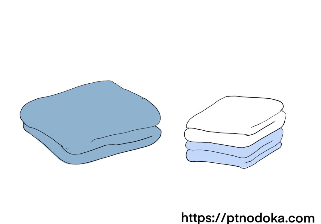 タオルケットとバスタオルのイラスト