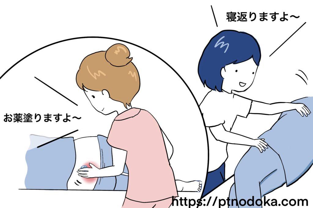 床ずれのために体位交換や治療を行われている患者のイラスト