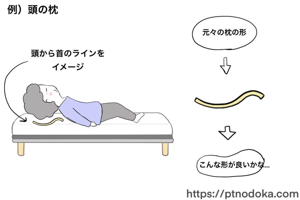 頭の枕の形を体にそわせるイラスト