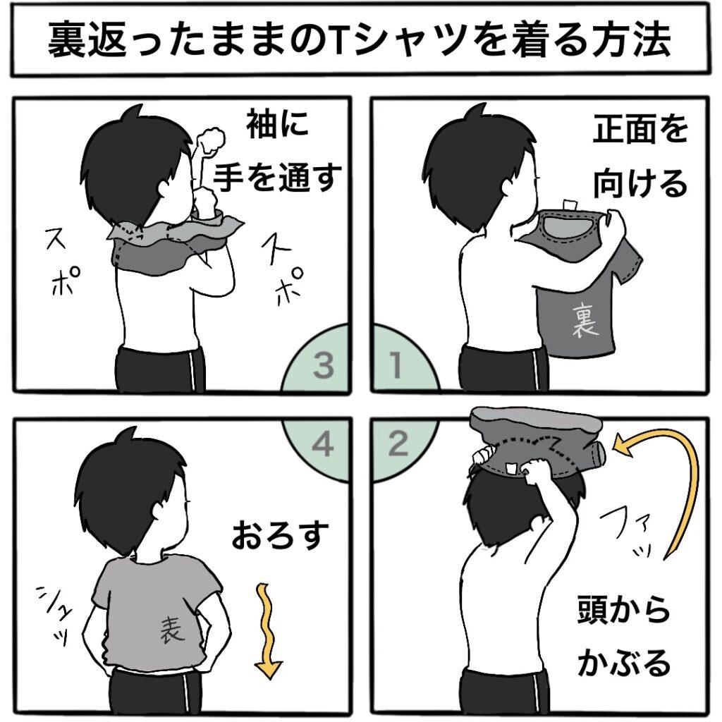 裏返しのTシャツをそのまま着る方法の4コマ漫画