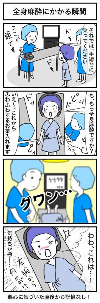【4コマ漫画】全身麻酔にかかる瞬間:親知らず4本同時抜歯
